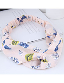 Sweet Pink Leaf Pattern Decorated Wide Hair Band