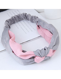 Sweet Pink+gray Cross Shape Design Wide Hair Band