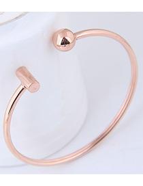 Elegant Rose Gold Round Ball Decorated Opening Bracelet