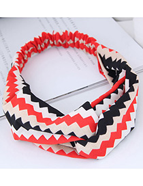 Fashion Red+black Sawtooth Pattern Decorated Hairband