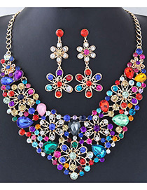 Fashion Multi-color Full Diamond Decorated Flower Shape Jewelry Sets