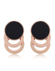 Fashion Rose Gold Round Shape Decorated Hollow Out Earrings