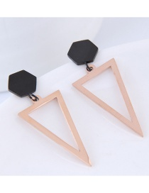 Fashion Rose Gold Triangle Shape Design Earrings