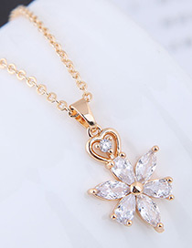 Elegant Gold Color Sunflower Pendant Decorated Necklace