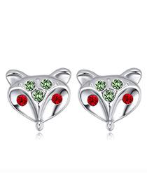 Fashion Green Fox Shape Decorated Earrings