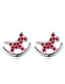 Fashion Red Horse Shape Decorated Earrings
