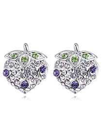 Fashion Purple+silver Color Strawberry Shape Decorated Earrings