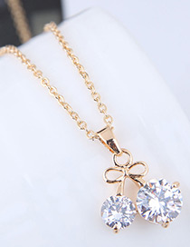 Fashion Gold Color Cherry Pattern Decorated Necklace