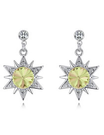 Fashion Green Star Shape Decorated Long Earrings