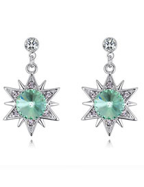 Fashion Olive Star Shape Decorated Long Earrings