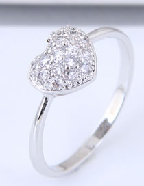 Fashion Silver Color Heart Shape Diamond Decorated Ring