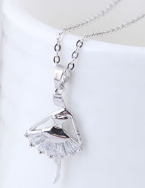 Fashion Silver Color Ballerina Girl Pendant Decorated Necklace