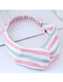 Fashion White+green Stripe Pattern Decorated Hair Band