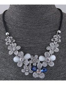 Fashion Silver Color+blue Flower Shape Design Necklace