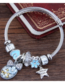 Fashion Light Blue Flower Shape Decorated Bracelet