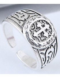 Fashion Silver Color Cross Pattern Decorated Opening Ring