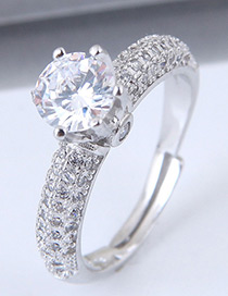 Fashion Silver Color Full Diamond Decorated Opening Ring