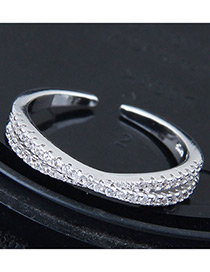 Fashion Silver Color Full Diamond Decorated Simple Opening Ring