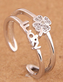 Fashion Silver Color Flower&letter Pattern Decorated Opening Ring