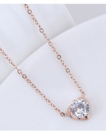 Fashion Rose Gold Heart Shape Decorated Necklace