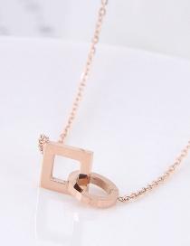 Fashion Rose Gold Geometric Shape Design Necklace