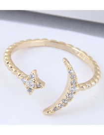 Fashion Gold Color Moon&star Shape Decorated Opening Ring