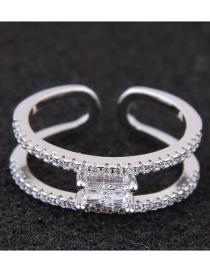 Fashion Silver Color Full Diamond Decorated Double Layer Opening Ring