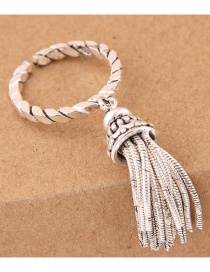 Vintage Silver Color Tassel Decorated Opening Ring