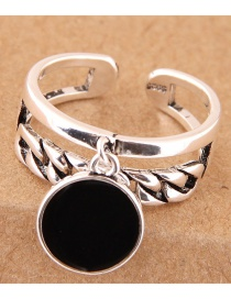 Vintage Silver Color Round Shape Decorated Double Layer Opening Ring