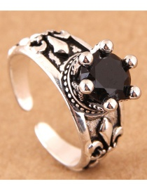 Vintage Silver Color Round Shape Decorated Opening Ring