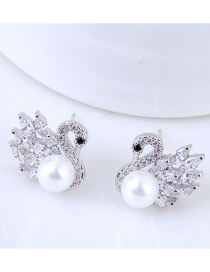 Fashion Silver Color Swan Shape Decorated Earrings