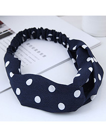 Fashion Navy+white Spot Shape Decorated Headband