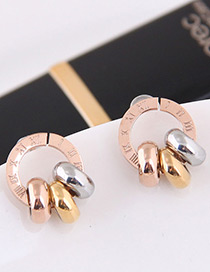 Fashion Multi-color Circular Ring Decorated Earrings