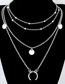 fashion Silver Color Moon Shape Decorated Necklace