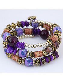 Sweet Purple+coffee Beads Decorated Multi-layer Bracelet