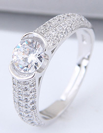 Sweet Silver Color Full Diamond Decorated Pure Color Ring