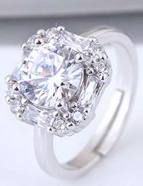 Sweet Silver Color Square Shape Diamond Decorated Ring