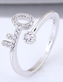 Sweet Silver Color Key Shape Design Pure Color Ring