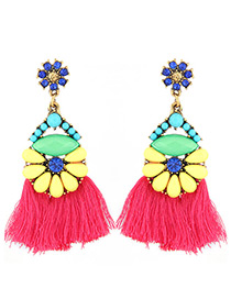 Elegant Plum Red Diamond Decorated Tassel Earrings