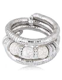 Fashion White Round Shape Decorated Bracelet