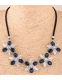 Fashion Sapphire Blue Flower Shape Decorated Necklace
