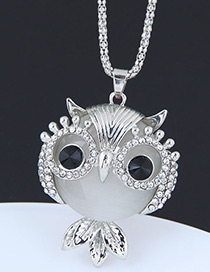Fashion Silver Color Owl Shape Decorated Necklace