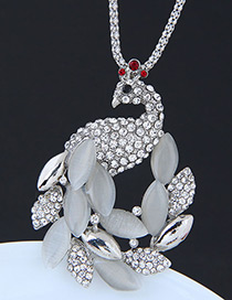 Fashion Silver Color Peacock Shape Decorated Necklace