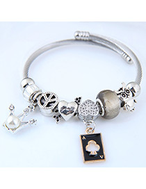 Fashion Silver Color+gold Color Crown Shape Decorated Bracelet