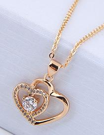 Elegant Gold Color Heart Shape Pendant Decorated Necklace