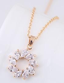 Elegant Gold Color Round Shape Pendant Decorated Necklace