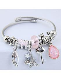 Elegant Pink Key&tower Pendant Decorated Bracelet