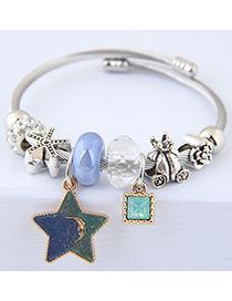 Elegant Blue+green Star&diamond Pendant Decorated Bracelet