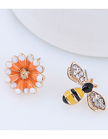 Elegant Yellow+orange Bee&flower Decorated Asymmetric Earrings