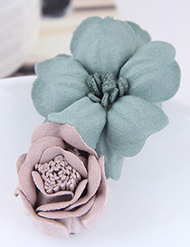 Fashion Pink+green Flower Shape Decorated Hairclip